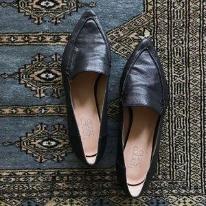 Franco Sarto Black Leather Susie Point Toe Flats